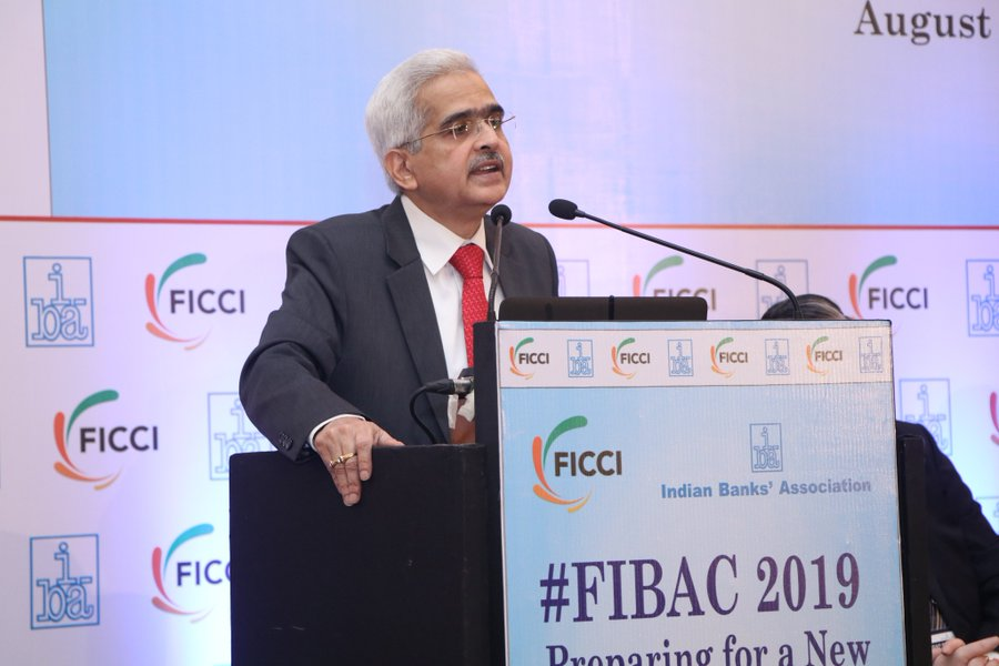 RBI Governor at a session of the FIBAC conclave in Mumbai on August 19, 2019: Photo courtesy: Twitter/@ficci_india