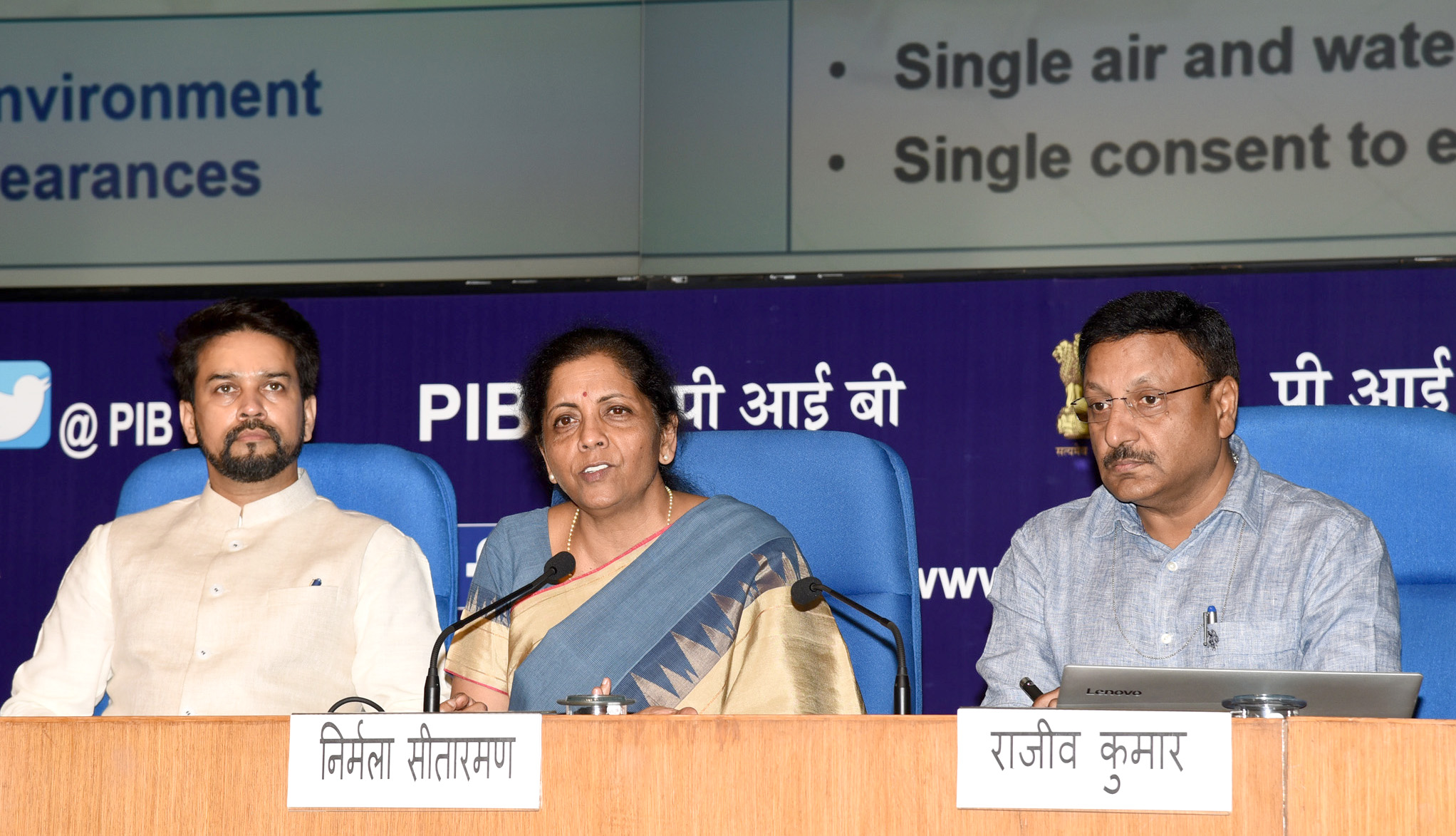 The Union Minister for Finance and Corporate Affairs, Smt. Nirmala Sitharaman addressing a press conference, in New Delhi on August 23, 2019.