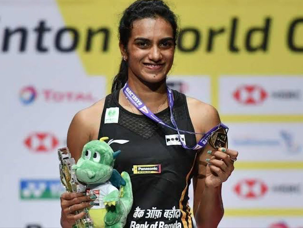 This is Sindhu's fifth badminton World Championships medal. Photo courtesy: Twitter/@bhaichung15