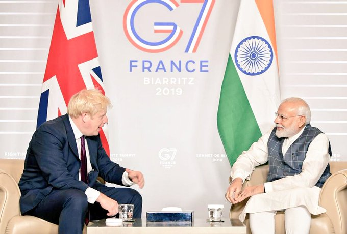This is the first meeting between the Indian and British leaders against the backdrop of the Modi government revoking the special status to Jammu and Kashmir