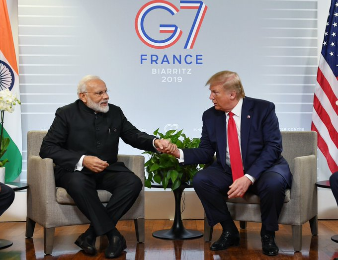 Modi reiterated India's stance as he sat next to Trump and categorically rejected any scope for third party mediation between India and Pakistan on Kashmir. Photo courtesy: Twitter/@PMOIndia