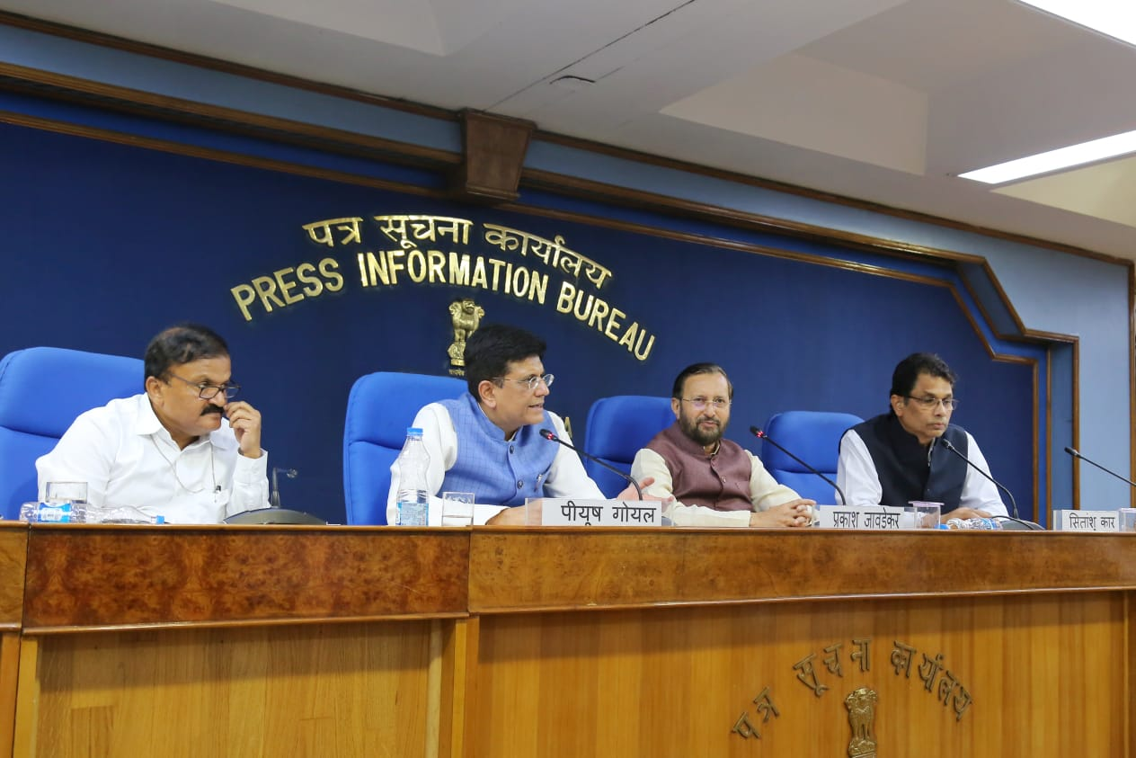 Commerce Minister Piyush Goyal announces easing of FDI norms on Wednesday. Photo courtesy: Twitter/@PiyushGoyal