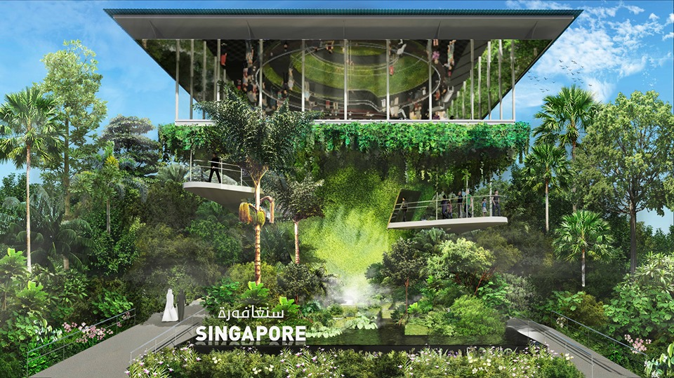 The Singapore pavilion at the Expo 2020 Dubai is themed 'Nature. Nurture. Future'. Photo courtesy: Facebook/WOHA Architects