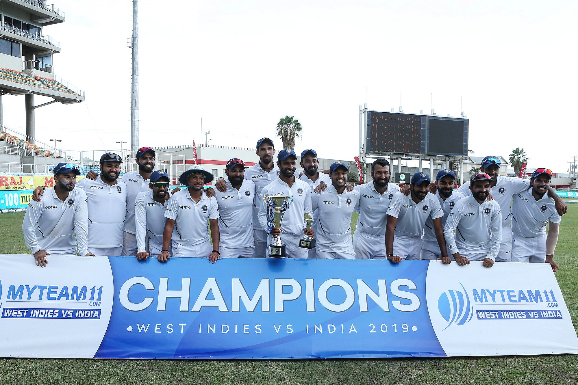 India won the test series against the West Indies 2-0. Photo courtesy: Twitter/@BCCI