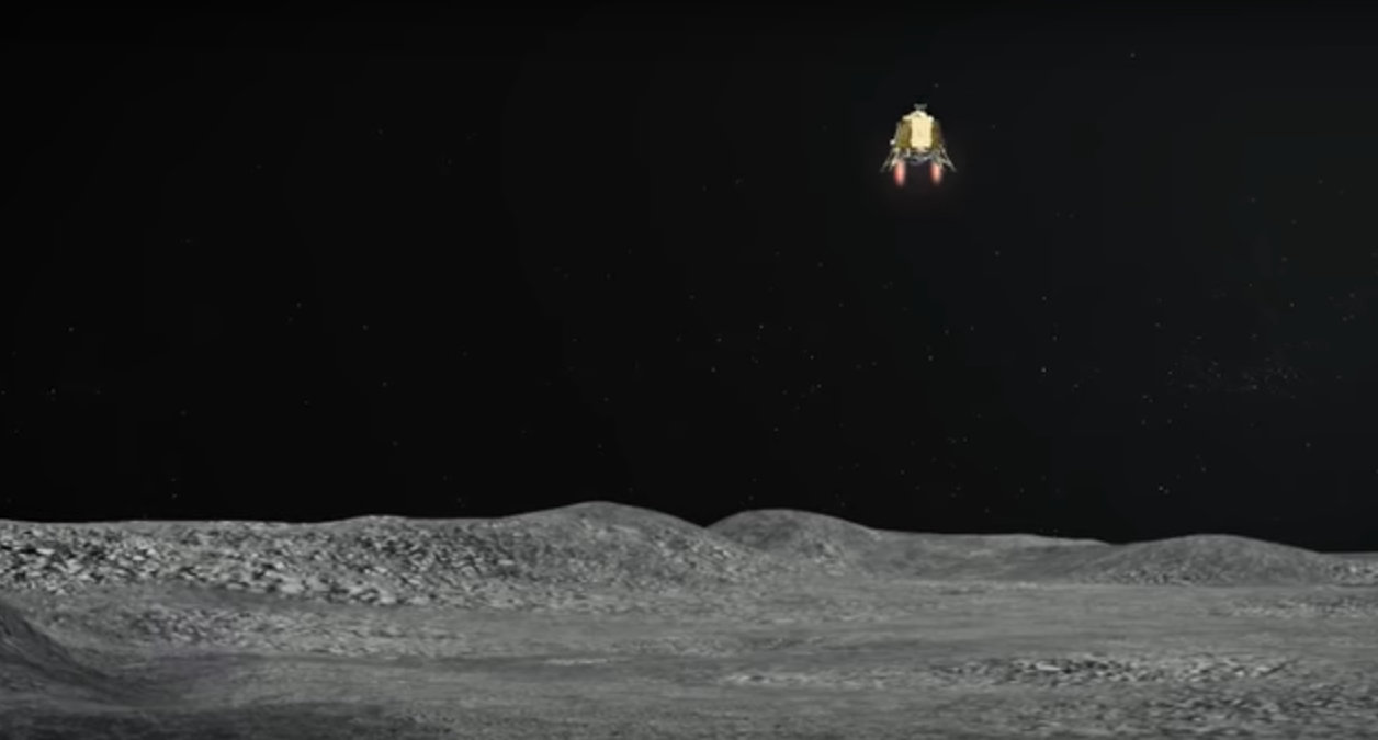 Moon lander Vikram will land on the lunar surface between 1.30 am and 2.30 am IST on Saturday. YouTube screengrab courtesy: ISRO Official