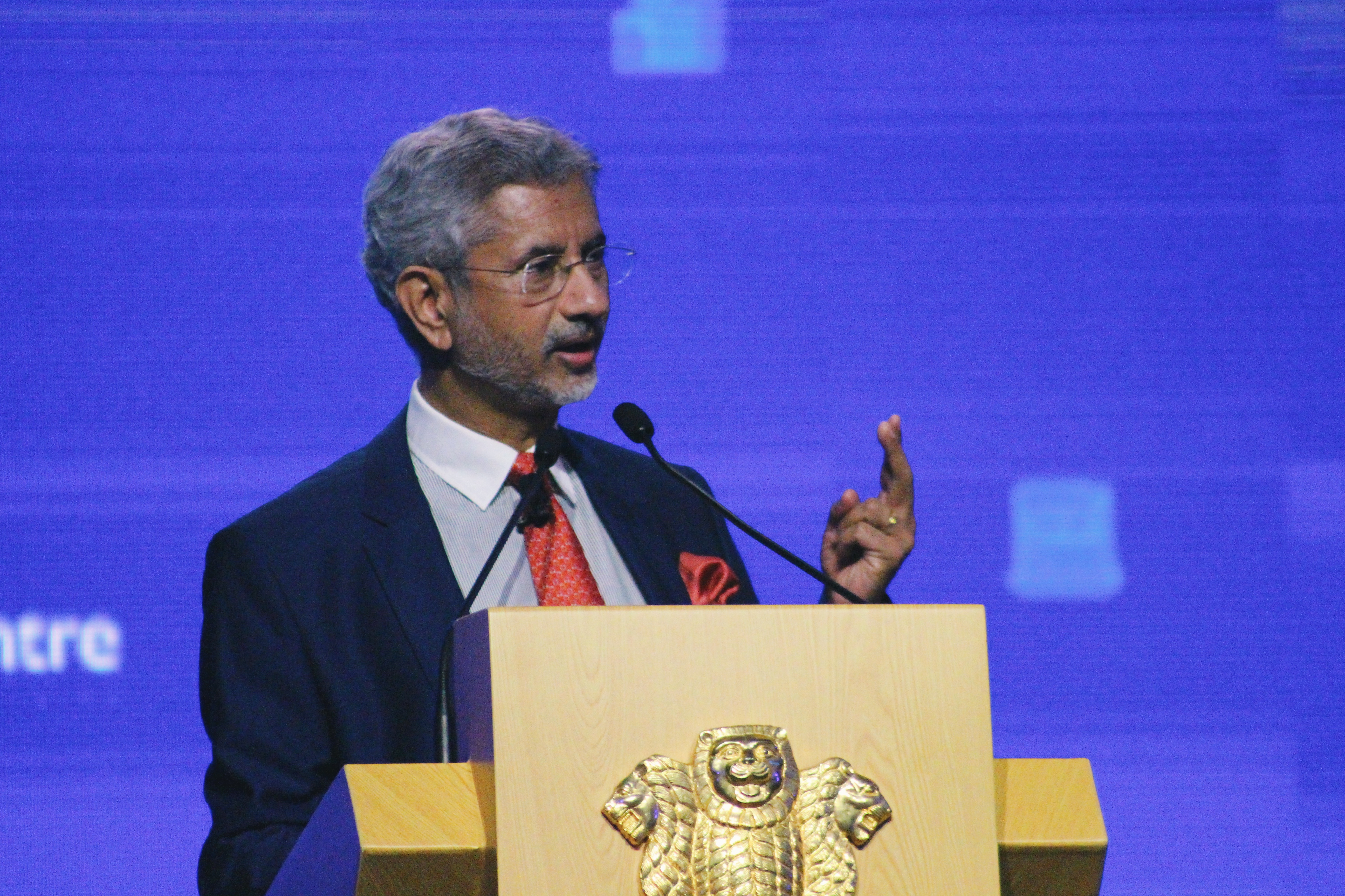 Indian External Affairs Minister S Jaishankar speaking at the India-Singapore: The Next Phase business and innovation summit. Photo courtesy: Connected to India