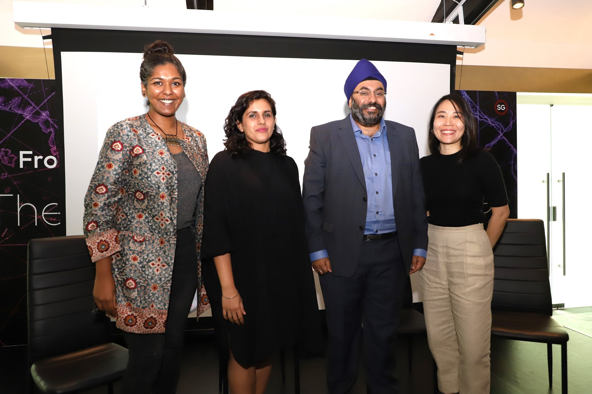 (From left: Anthropologist Vithya Subramaniam, filmmaker Upneet Kaur-Nagpal, executive producer Simranjit Singh and research associate Li-Jen Tan were part of the panel at the pre-launch of documentary Saint Soldier – Uncovering the Story of Singapore's First Sikh. Photo courtesy: Bhai Maharaj Singh Documentary FB page