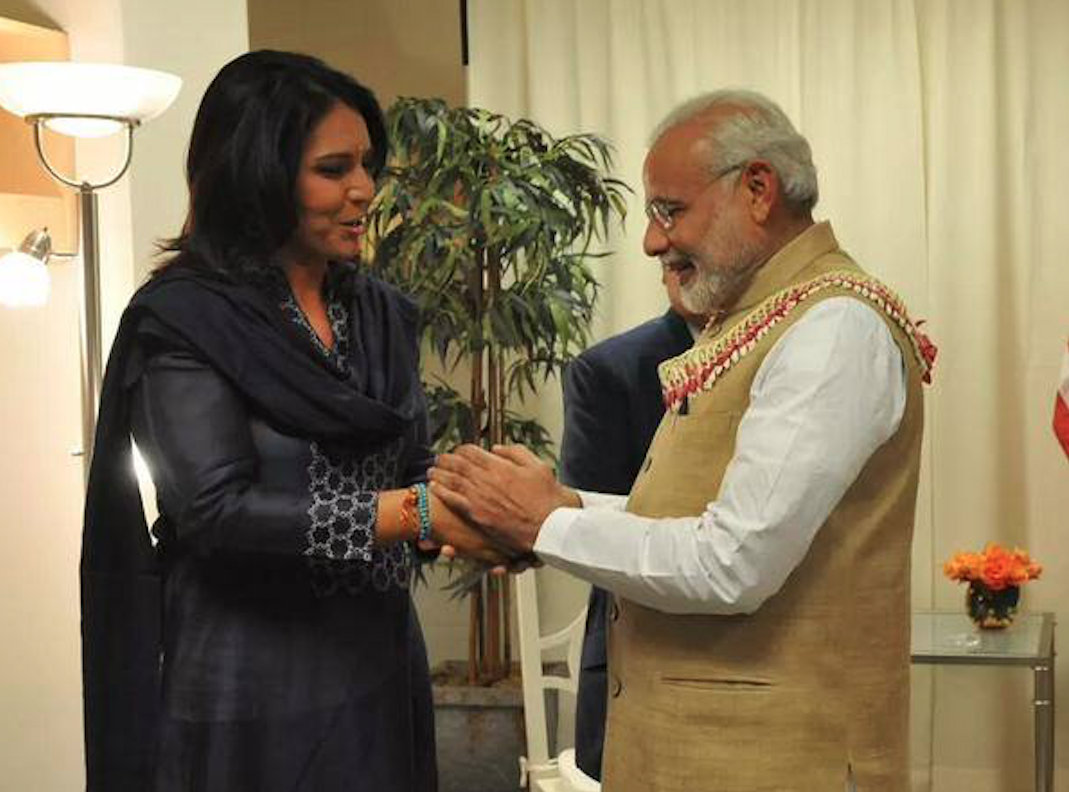 Tulsi Gabbard has clarified that she will meet Indian PM Narendra Modi but not at the 'Howdy, Modi' event. File photo courtesy: Facebook/Tulsi Gabbard