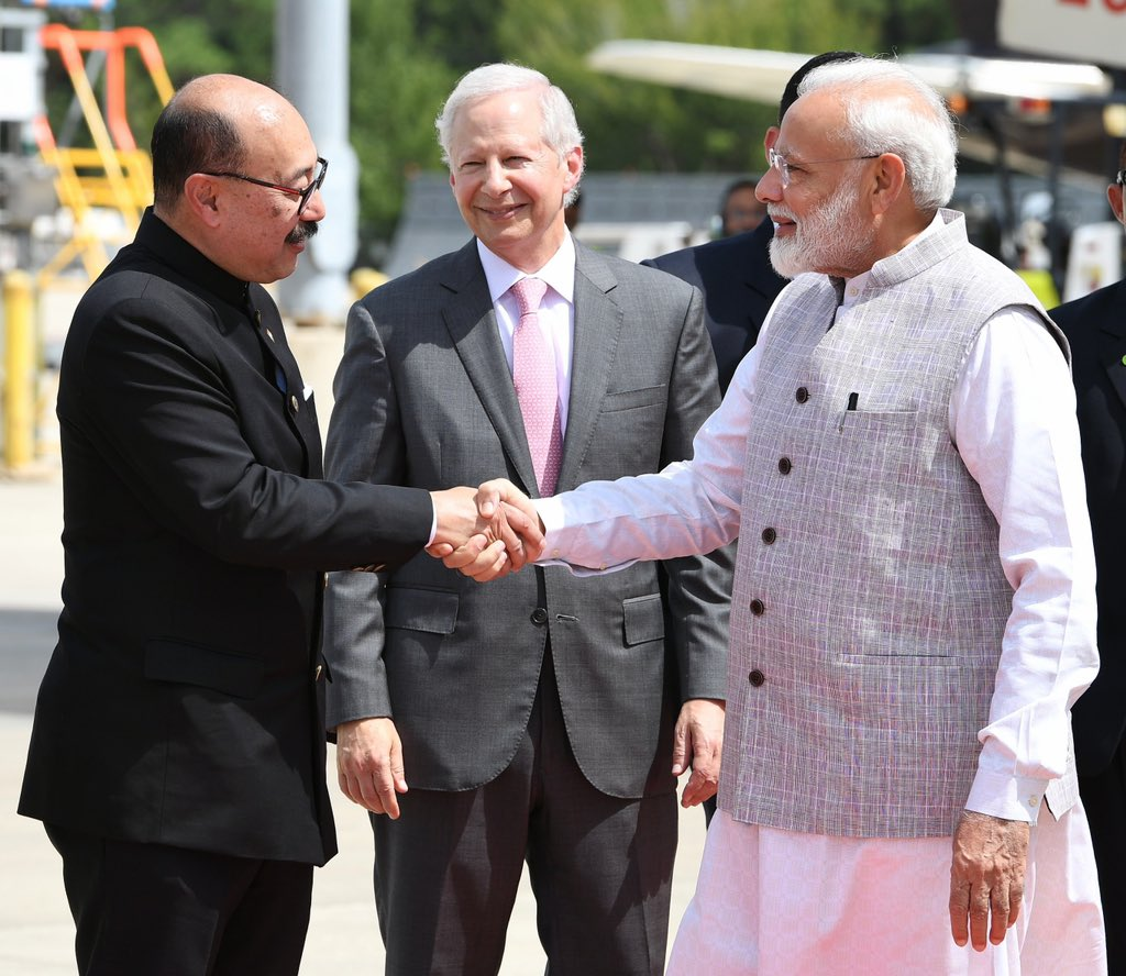 Indian Prime Minister Narendra Modi touched down in Houston, Texas on Saturday and was greeted by Indian ambassador Harsh Shringla. Photo courtesy: Twitter/@narendramodi