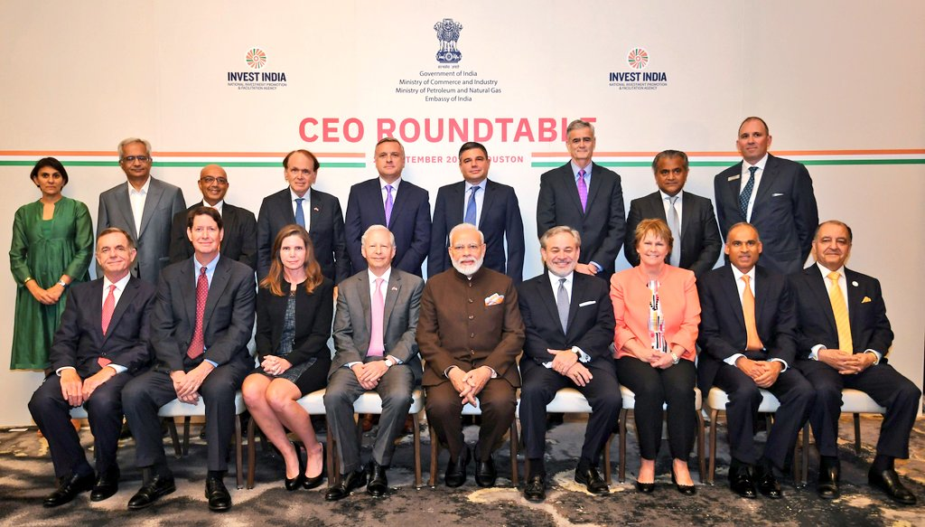 Modi attended a roundtable conference with several chief executives of energy sector companies. Photo courtesy: Twitter/@MEAIndia
