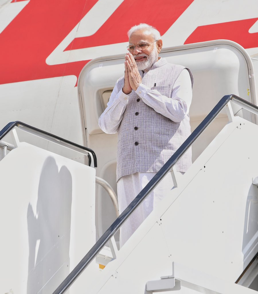 Prime Minister Narendra Modi arrives in Houston, Texas. Photo courtesy: Twitter/@narendramodi