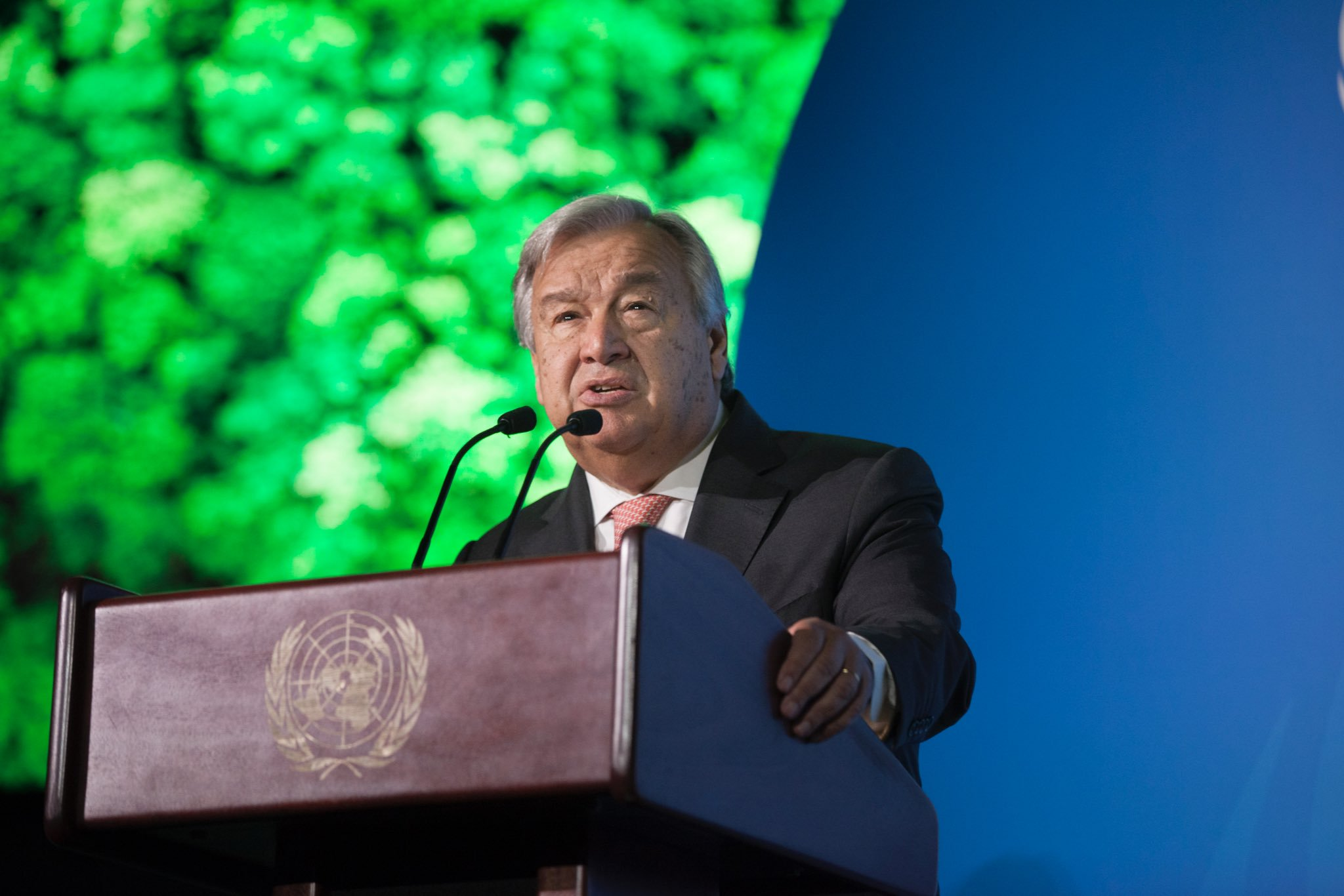 UN Secretary General António Guterres speaking at the UN Climate Summit. Photo courtesy: Twitter/@antonioguterres