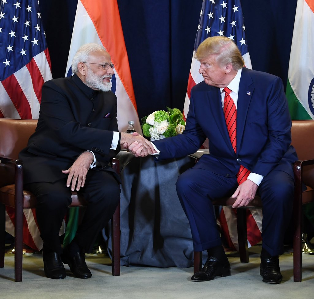 Narendra Modi and Donald Trump held a bilateral meeting on the sidelines of the UN General Assembly in New York. Photo courtesy: Twitter/@narendramodi