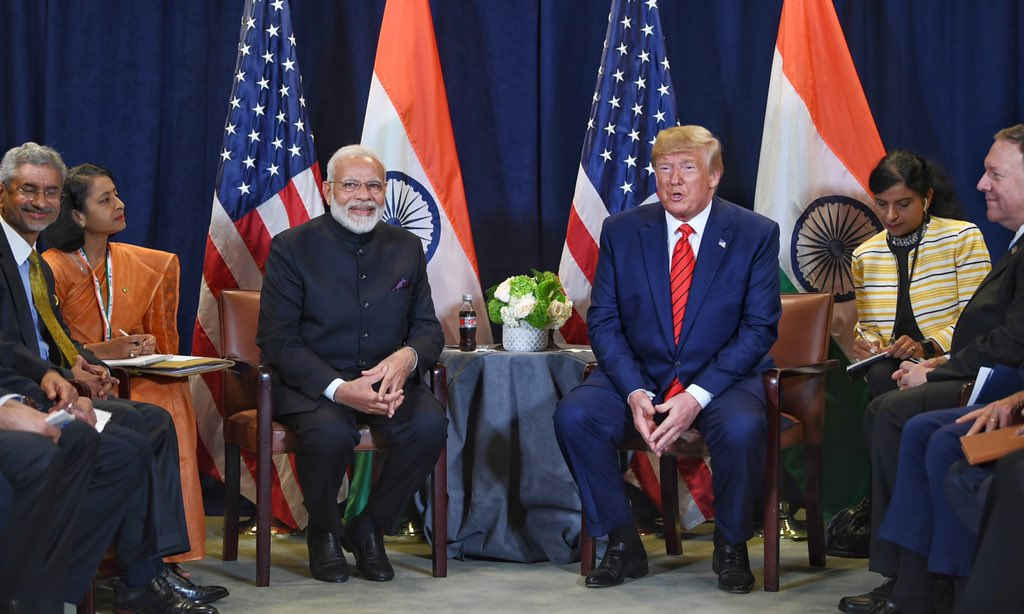 Trump and Modi at the bilateral meeting on Tuesday. Photo courtesy: Twitter/@narendramodi