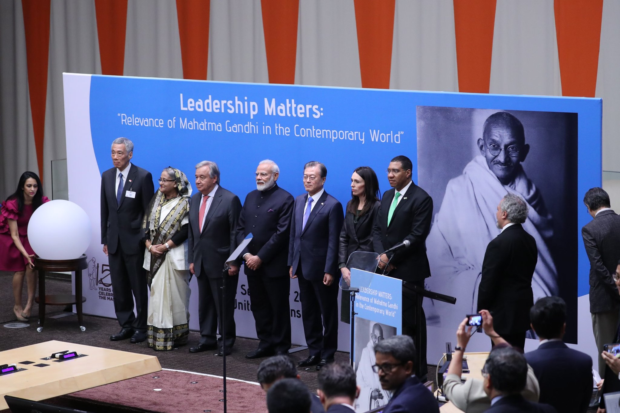 (From left to right) Singapore PM Lee Hsien Loong, Bangladesh PM Sheikh Hasina, UN Secretary General António Guterres, India PM Narendra Modi, South Korean President Moon Jae-in, New Zealand PM Jacinda Ardern and Jamaica PM Andrew Holness delivered speeches at an event to commemorate the 150th birth anniversary of Mahatma Gandhi. Photo courtesy: MCI Betty Chua