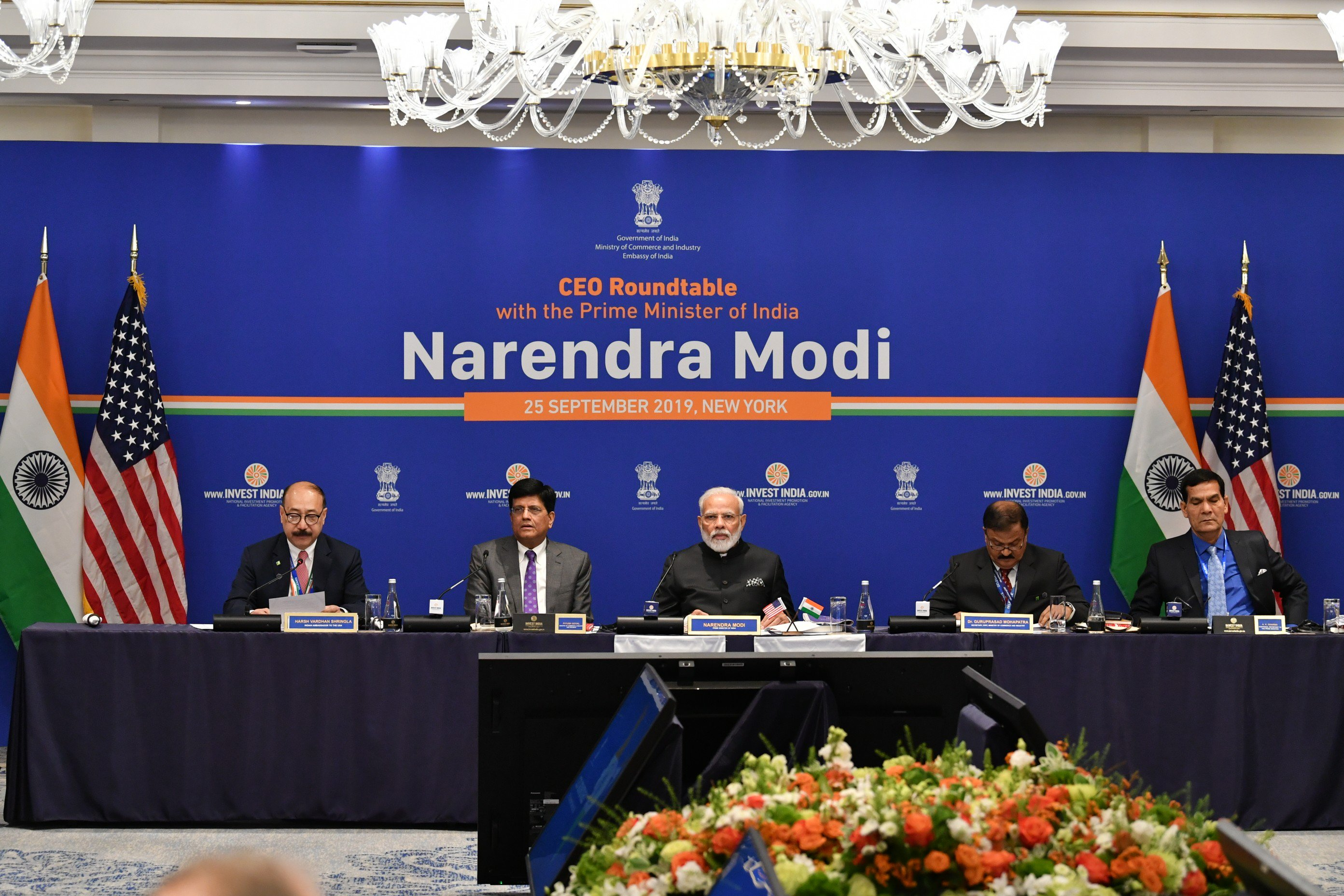 Narendra Modi and Piyush Goyal at the CEO roundtable in New York. Photo courtesy: Twitter/@PIB_India