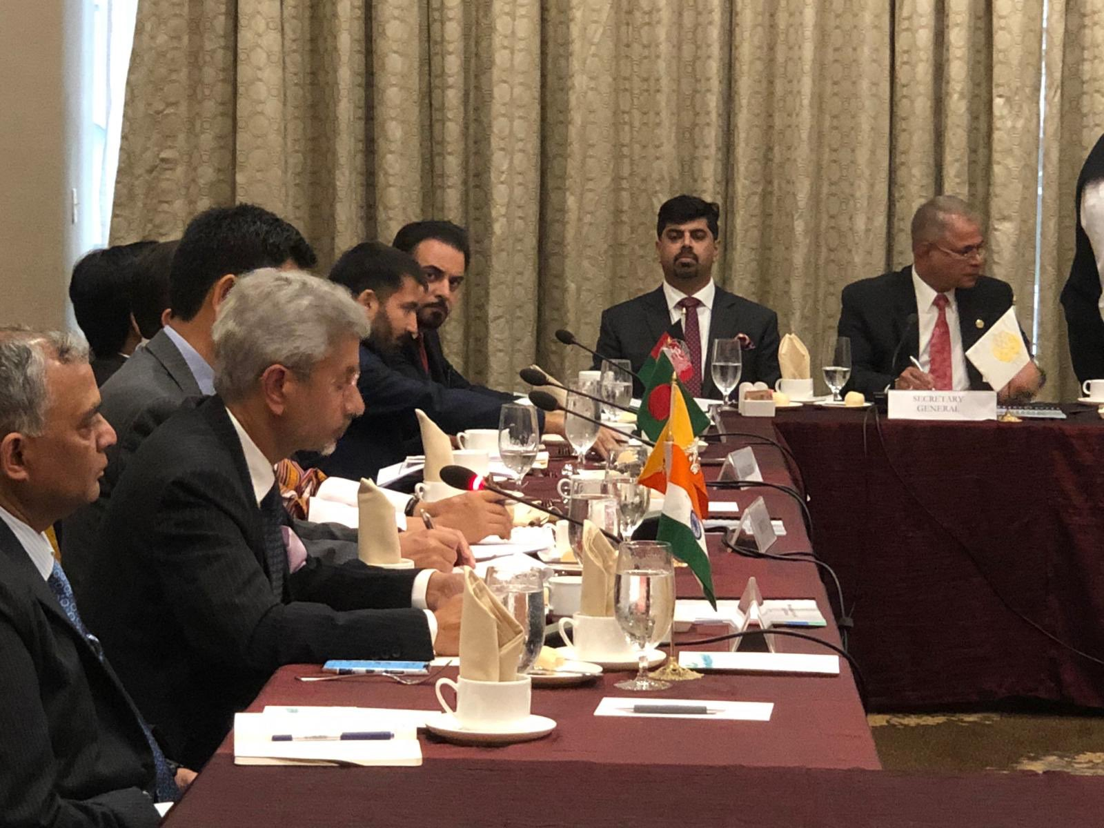 S Jaishankar addressing the SAARC Council of Foreign Ministers in New York on Thursday. Photo courtesy: Twitter/@DrSJaishankar