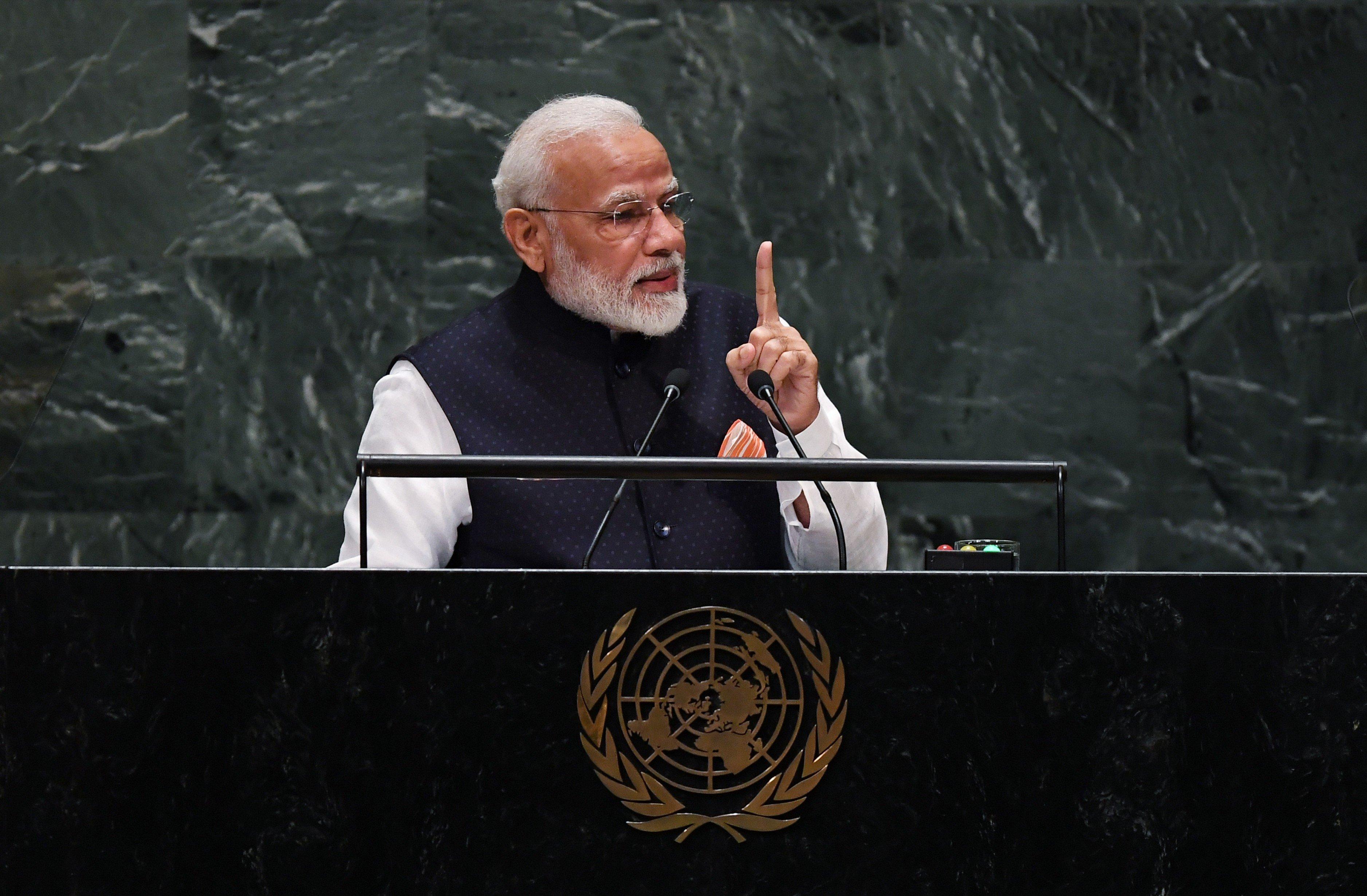 Prime Minister Narendra Modi addressing the UN General Assembly. Photo courtesy: Twitter/@PIB_India