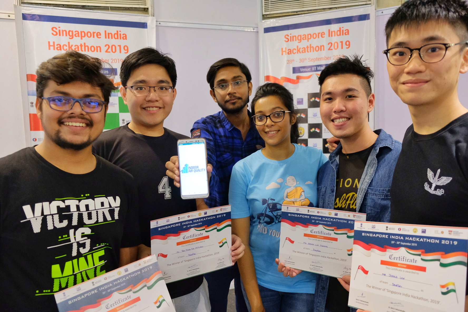 Singapore-India Hackathon 2019 First Prize Winners (from left): Baibhav Kumar, Tan Ming Kai Mitchell, Subham Divakar, Sweta Kabi, Bryan Lim Yuqiang, Jerald Low