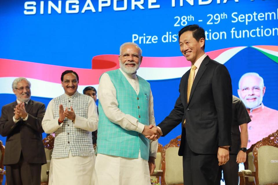 Indian Prime Minister Narendra Modi and Singapore's Education Minister Ong Ye Kung presented prizes to the winners of the Singapore-India Hackathon at Indian Institute of Technology Madras (IIT Madras) in Chennai, Tamil Nadu. Photo courtesy: Ong Ye Kung FB