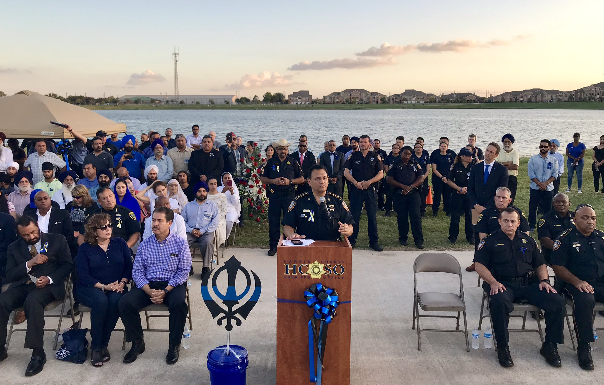 Memorial service for Lt. Sandeep Singh Dhaliwal at Harris County. Photo courtesy: Twitter/@HCSOTexas