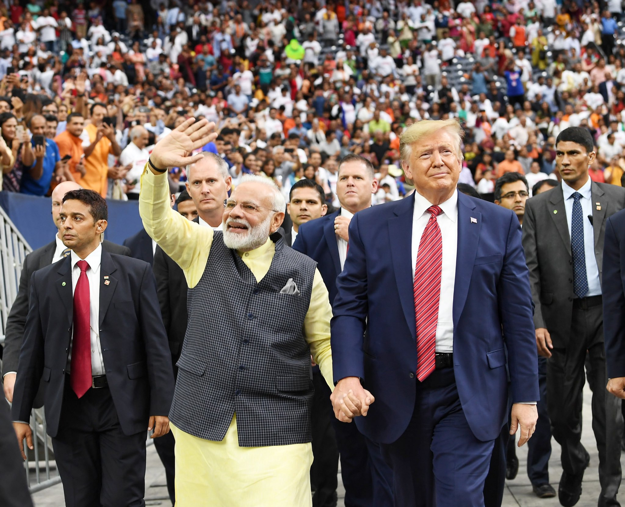 Prime Minister Modi and President Trump jointly addressed a rally in Houston last month. Photo courtesy: Twitter/@narendramodi