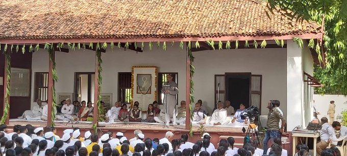 An all-religion prayer meet was organised at Sabarmati Ashram in Ahmedabad to mark #GandhiAt150. Photo courtesy: Twitter/@parthshastriTOI