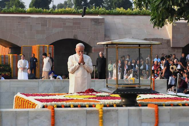 Indian Prime Minister Narendra Modi at Rajghat to mark the 150th anniversary of Mahatma Gandhi's birthday. Photo courtesy: PIB