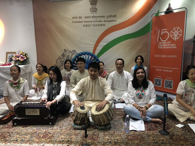 Consulate General of India, Guangzhou and Indian community sang Raghupati Raghav Arja Ram @cgiguangzhou