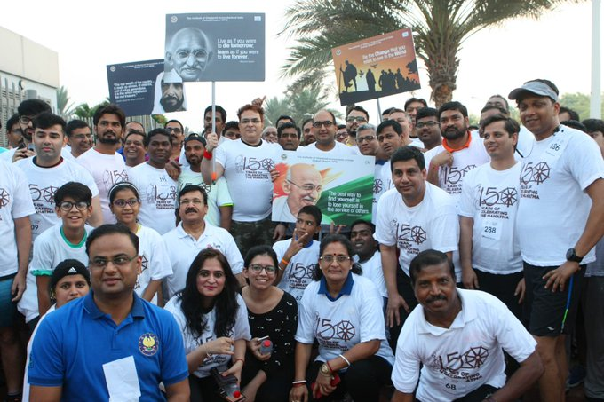 Consul General of India to Dubai Vipul, organised 'Walk Run for Peace & Tolerance' to mark the 150th birth anniversary of Mahatma Gandhi at Zabeel Park in Dubai @khaleejtimes