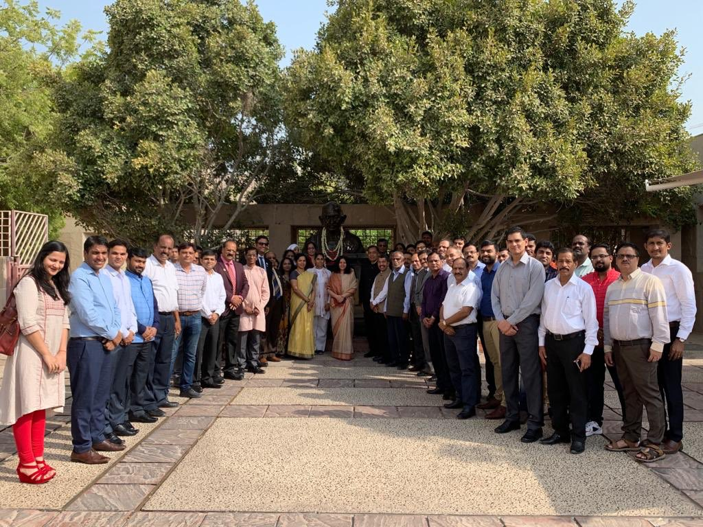 Embassy staff and members of the Indian community paid tribute to Mahatma Gandhi in Abu Dhabi. Photo courtesy: Twitter/@IndEmbAbuDhabi