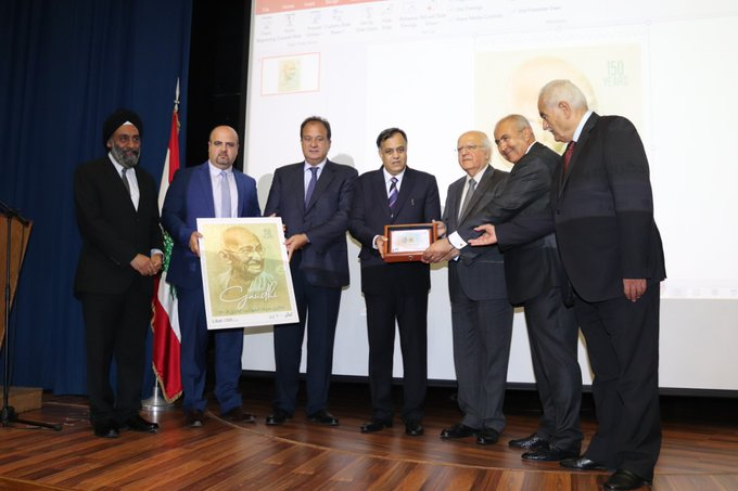 The formal release of a commemorative stamp of Mahatma Gandhi issued by the Government of Lebanon on Wednesday, October 2, 2019. Photo courtesy: Twitter/@IndiainLebanon