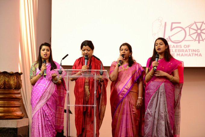 A choir sang bhajans on OCtober 2 at India House in London. Photo courtesy: Twitter/@HCI_London