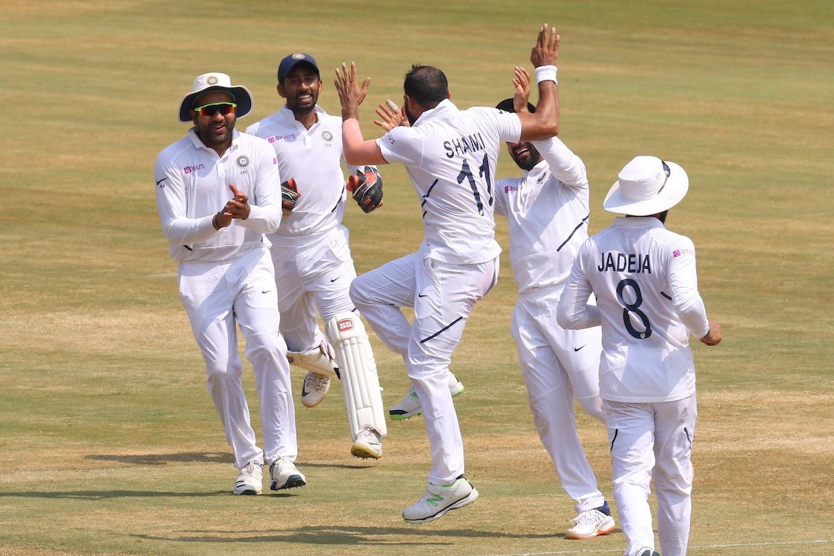 Mohammed Shami took 5/35 in the second innings. Photo courtesy: Twitter/@BCCI