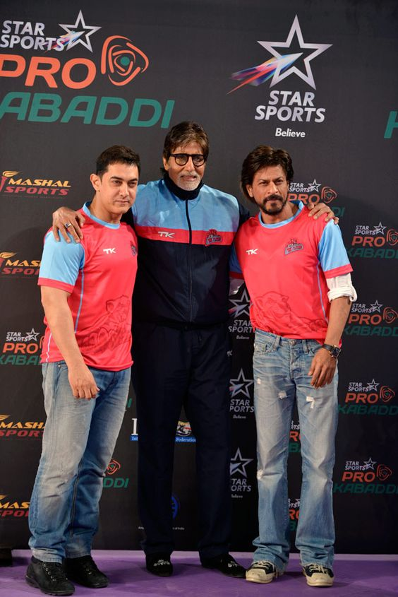 Bachchan's interests and brand extended beyond the movie industry. Seen here at the opening of the Pro KAbaddi League with Bollywood stars Aamir Khan (left) and Shah Rukh Khan. Photo courtesy: Pinterest