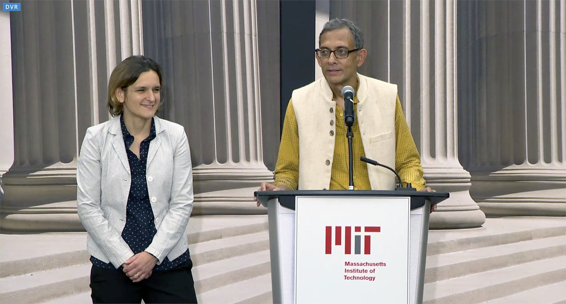 Banerjee was the joint supervisor of Duflo's PhD at MIT. Photo courtesy: Twitter/@MIT