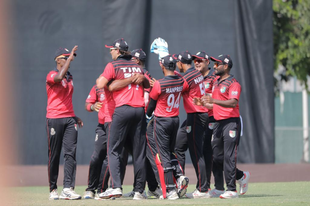 Singapore beat Bermuda by 5 wickets in their second match of the ICC T20 World Cup. Photo courtesy: Twitter/@T20WorldCup