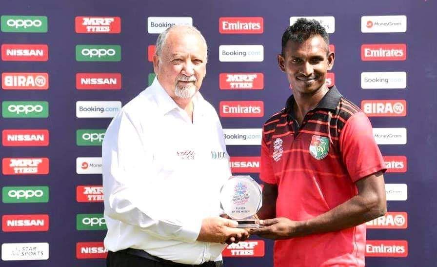 Selladore Vijayakumar won the man of the match award against Scotland for his 3/16. Photo courtesy: Facebook/Singapore Cricket Association