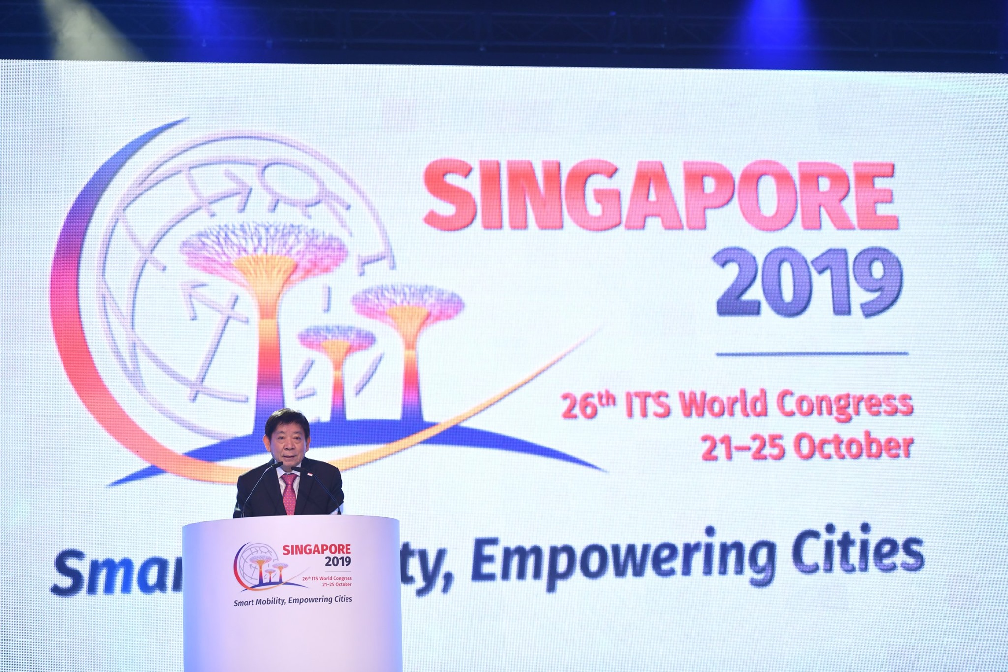 Singapore's Coordinating Minister for Infrastructure and Transport Minister Khaw Boon Wan speaking at the 26th Intelligent Transport Systems (ITS) World Congress. Photo courtesy: ITS World Congress