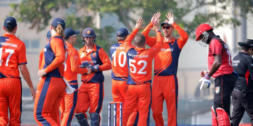 Singapore lost to the Netherlands by 5 wickets in the ICC T20 World Cup Qualifier. Photo courtesy: Twitter/@T20WorldCup