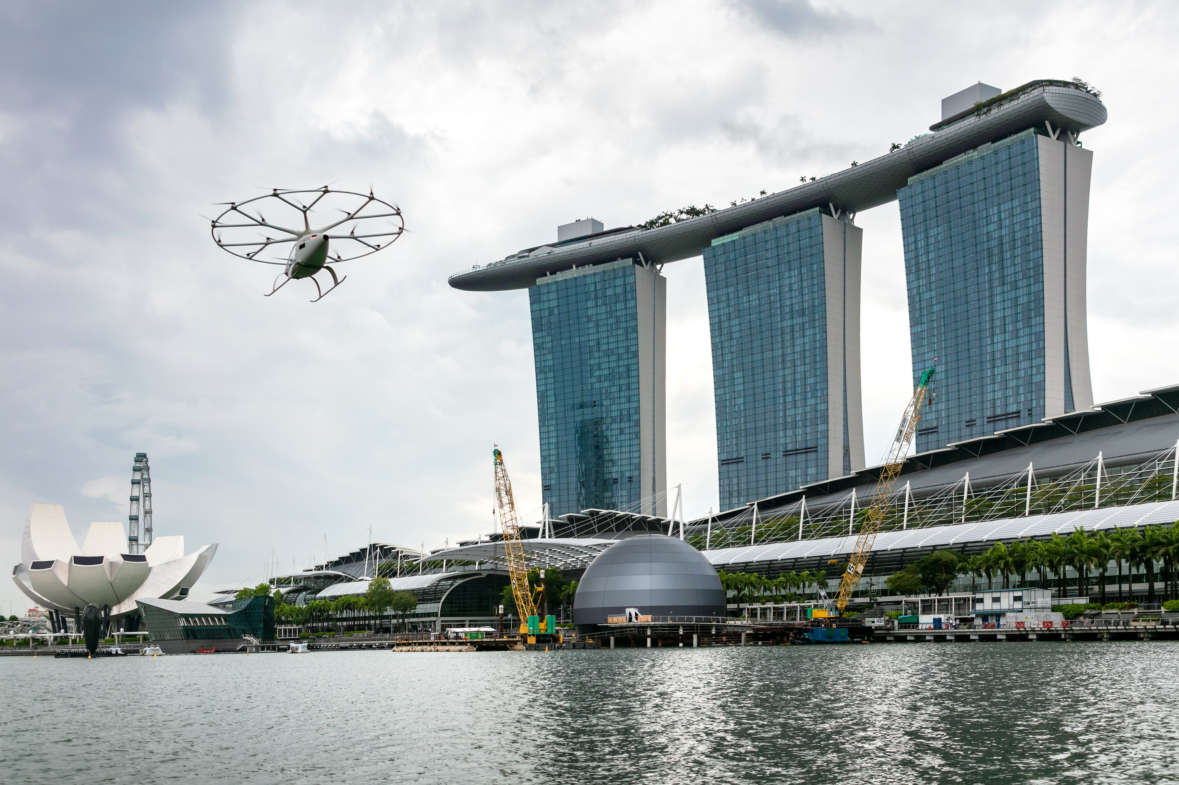 Created by Volocopter, the air taxi flew over Marina Bay on Tuesday. Photo courtesy: Nikolay Kazakov for Volocopter