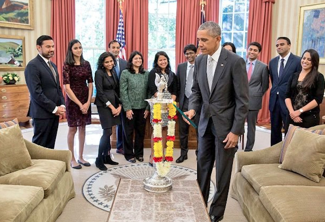 The tradition of celebrating Diwali at the White House was started by started by Barack Obama in 2009. Photo courtesy: Twitter/@prasarbharati