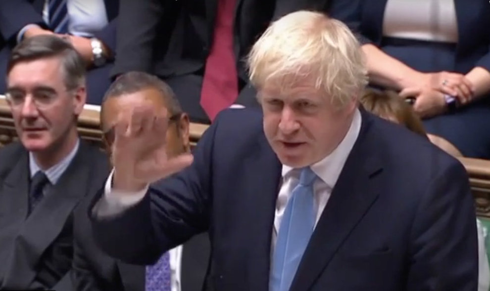 UK Prime Minister Boris Johnson will ask Parliament to vote on Monday to approve an early national poll to be held on December 12. Photo courtesy: Screengrab/House of Commons YouTube