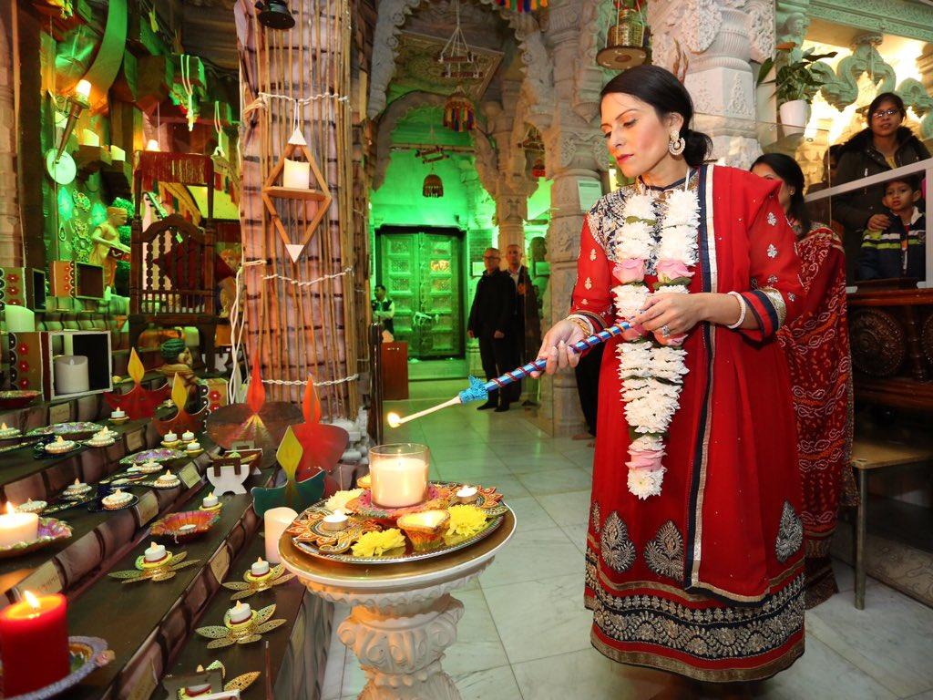 Indian-origin British Home Secretary Priti Patel celebrating Diwali. Photo courtesy: Twitter/@patel4witham