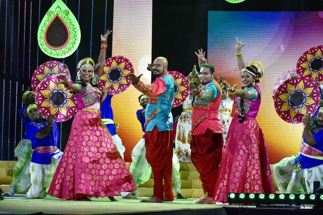 Manimaran, Rameshwara and Kaali dancers rocking the stage. Photo courtesy: Mediacorp