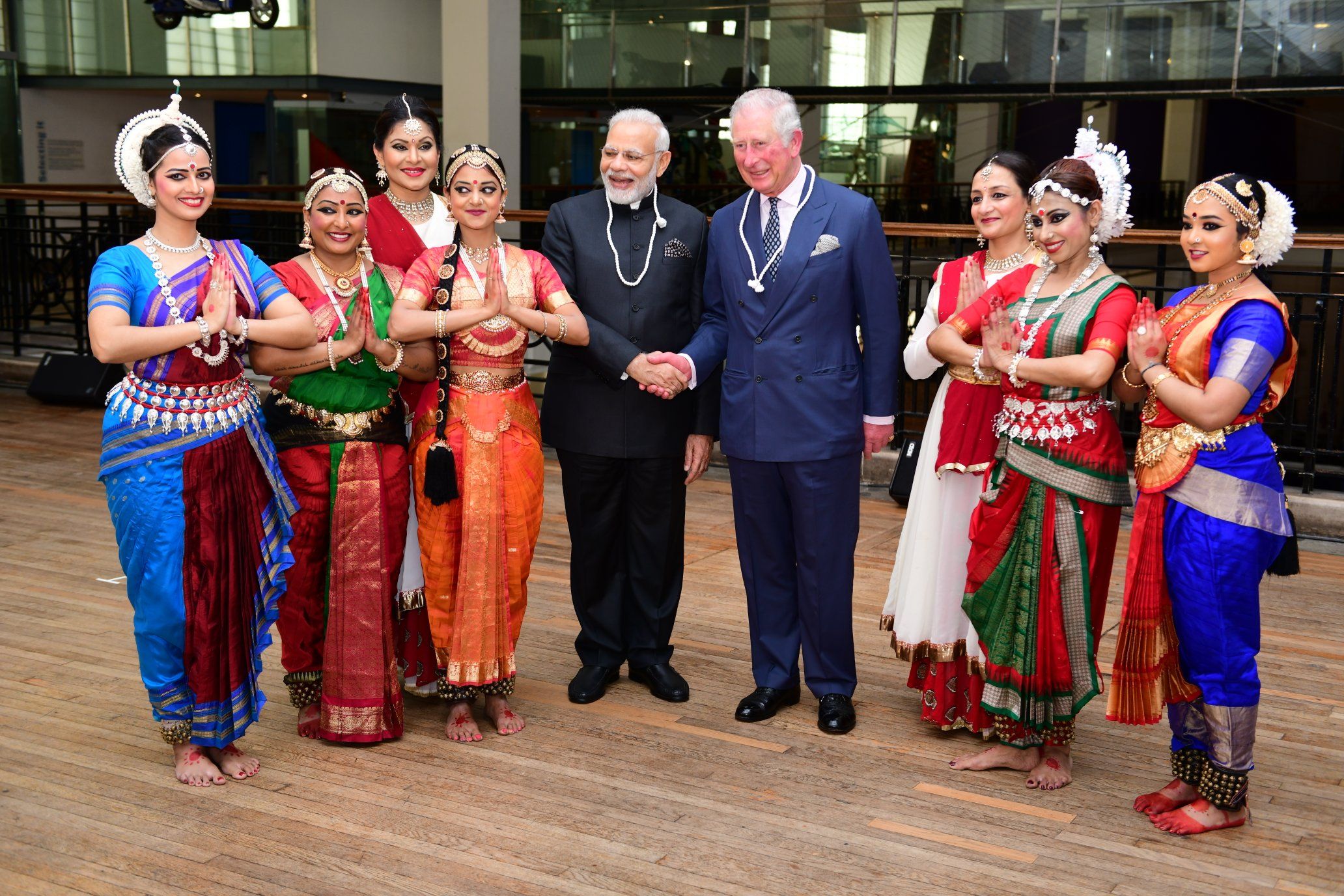 Britain's Prince Charles with Indian PM NArendra Modi at the Science Museum in London. Photo courtesy: Twitter/@MEAIndia