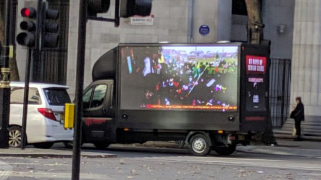 In response to the campaign of the protestors, a group of British Indians sent out a van with a Diwali message on a mobile LED billboard through the streets of London.