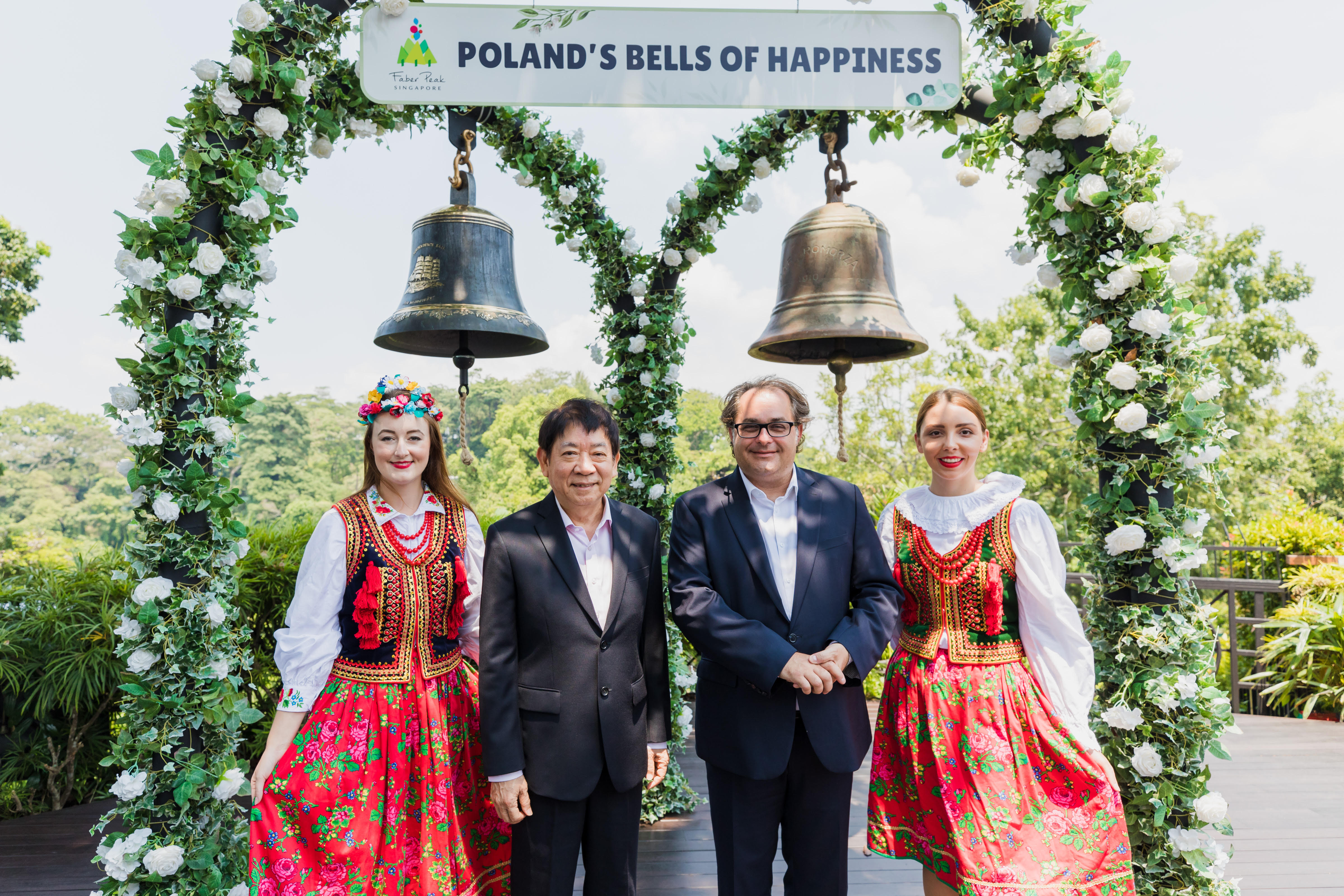 The newly renamed Poland's Bells of Happiness were unveiled in the presence of Coordinating Minister for Infrastructure, Minister for Transport of Singapore Khaw Boon Wan and Minister of Maritime Economy and Inland Navigation of Poland, Marek Gróbarczyk. Photo courtesy: One Faber Group