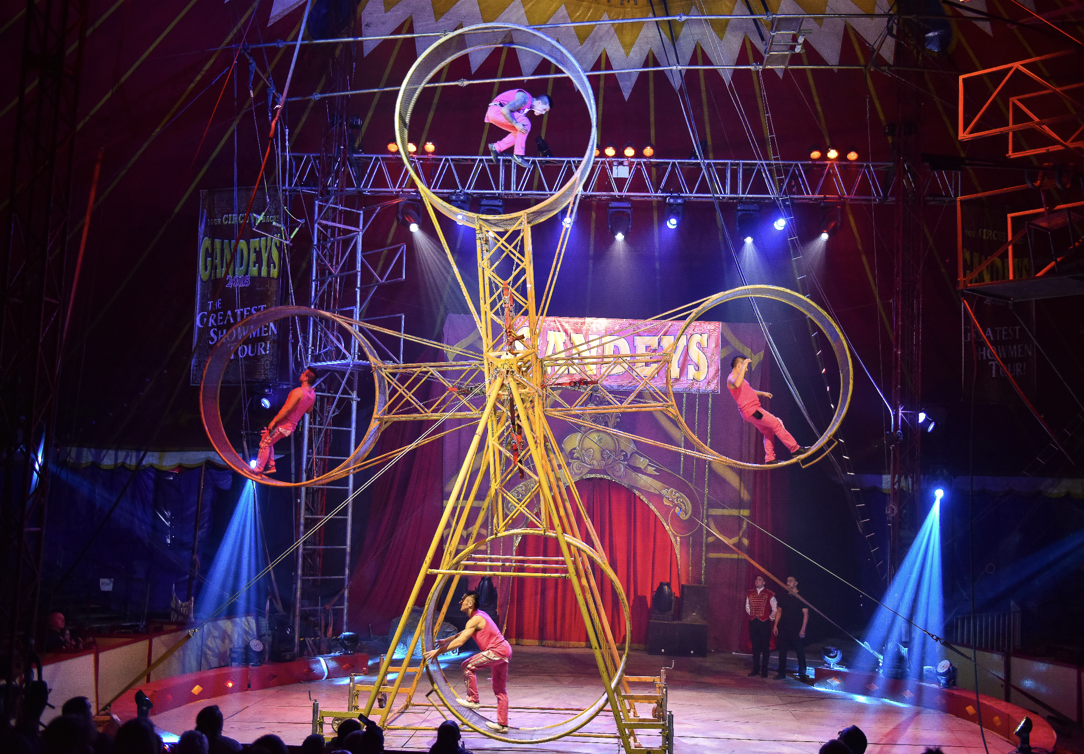 The Gerlings performing stunts on the Double Space Wheel. Photo courtesy: The Great Circus of Europe