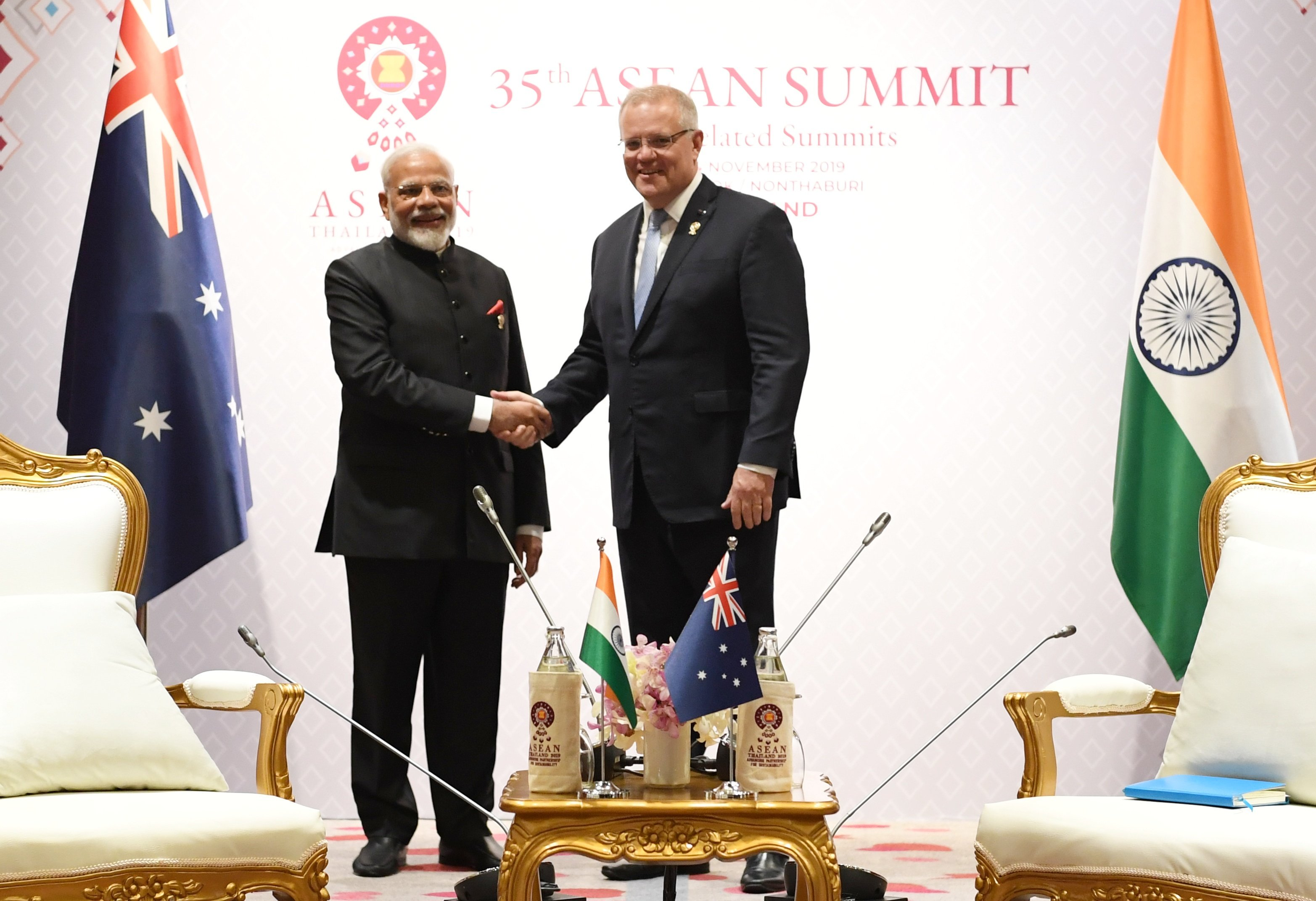 Australian Prime Minister Scott Morrison with Narendra Modi at ASEAN Summit. Photo courtesy: Twitter/@PIB_India